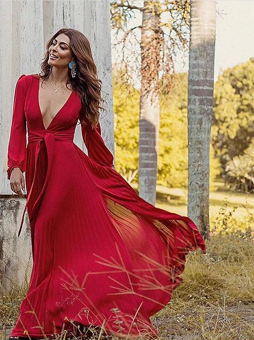 Vestido longo plissado vermelho Skazi Juliana Paes