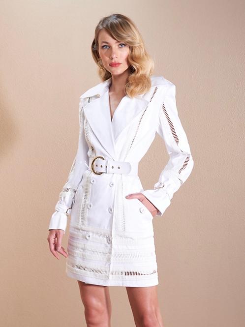 Casaco/vestido detalhe entremeios branco Skazi