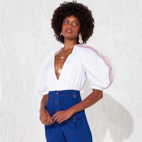 Body bordado com linhas coloridas off white Skazi
