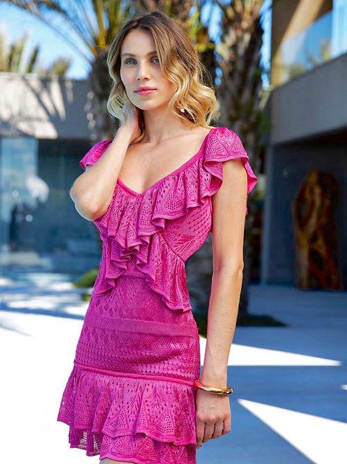 Vestido curto tricot babados pink Skazi Sclub