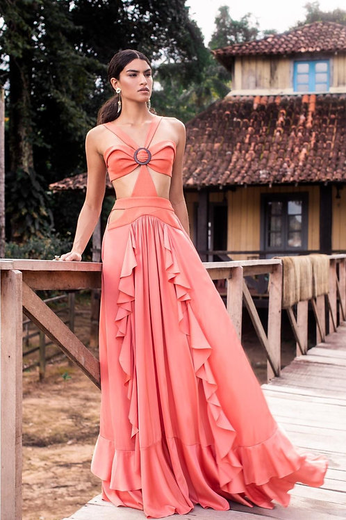 Vestido longo recortes laranja PatBo