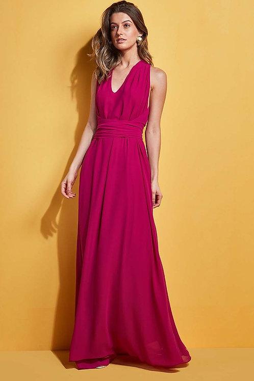 Vestido Longo Amarração rosa pink Skazi Sclub