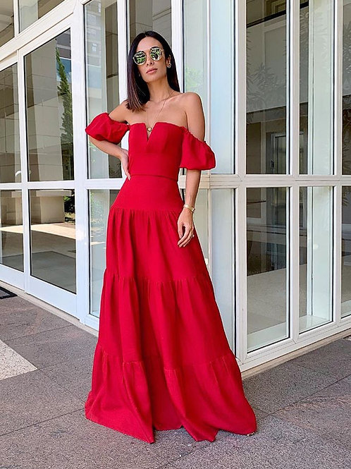 Vestido longo ciganinha vermelho Skazi SClub Silvia braz