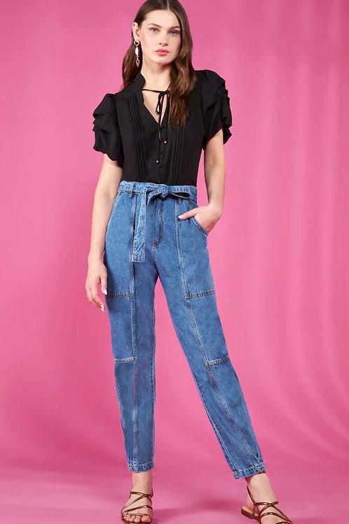Calça detalhe laço jeans Skazi Sclub