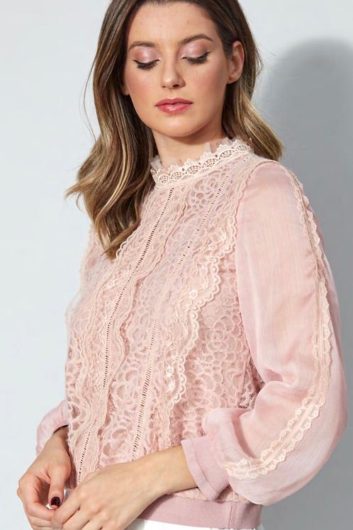 Blusa detalhe renda rosa Skazi