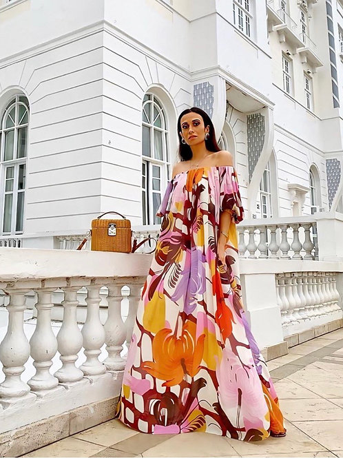 Vestido longo estampa TIG Silvia Braz