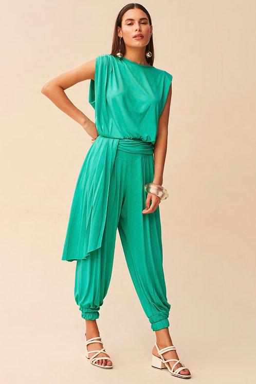 Calça verde detalhes drapeados Skazi Sclub