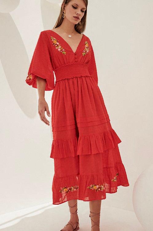 Vestido midi chiffon brocado com bordadosde linha vermelho Skazi Sclub