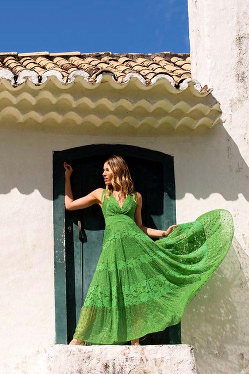 Vestido midi detalhe renda verde Skazi Sclub