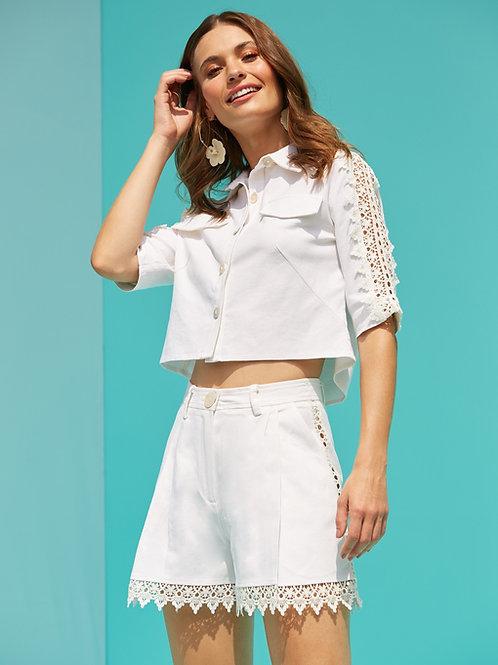Conjunto em linho shorts e camisa guipire off white Skazi Sclub