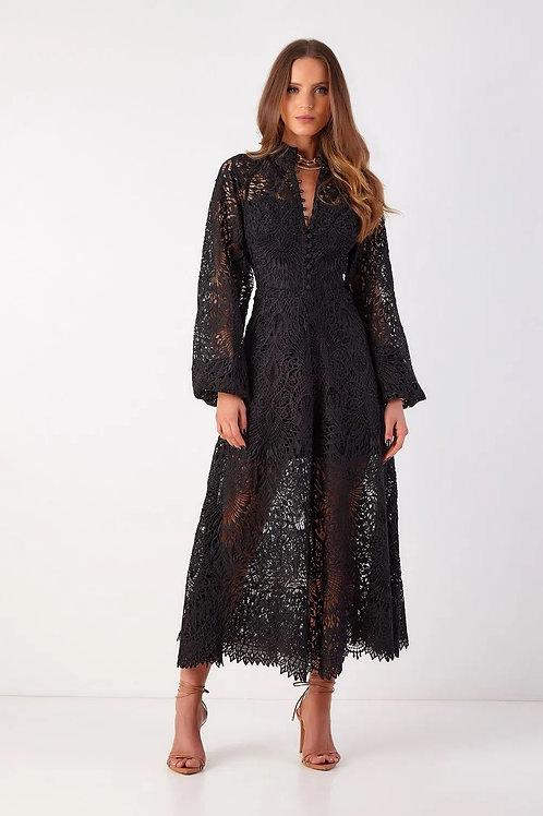 Vestido midi em renda Laura preto Fabulous Agilità