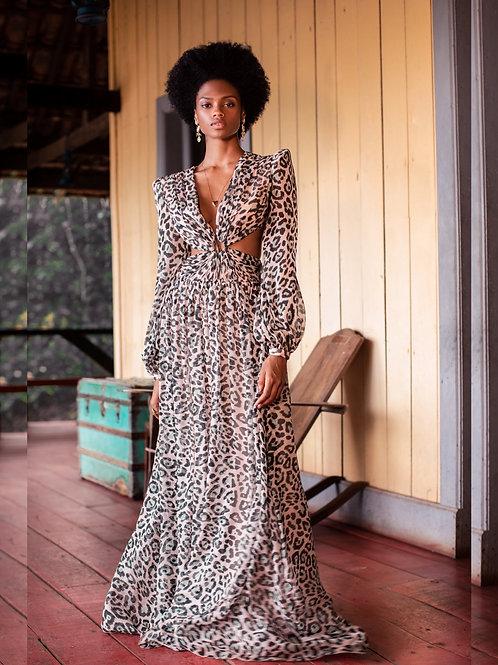 Vestido longo em seda pura animal print PatBo