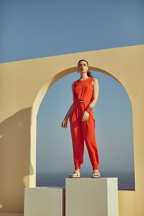 Conjunto de calça e blusa crepe com detalhes em tricot Skazi Sclub laranja