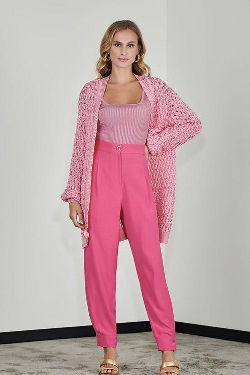 Cardigan tricot vazado rosa - Iorane