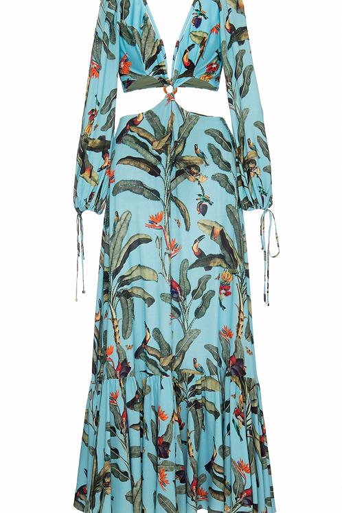 Vestido longo com bordados e recortes cintura PatBo musa tropical