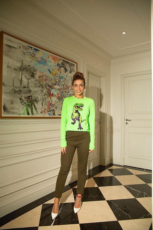Blusa bordado dino Tig verde neon