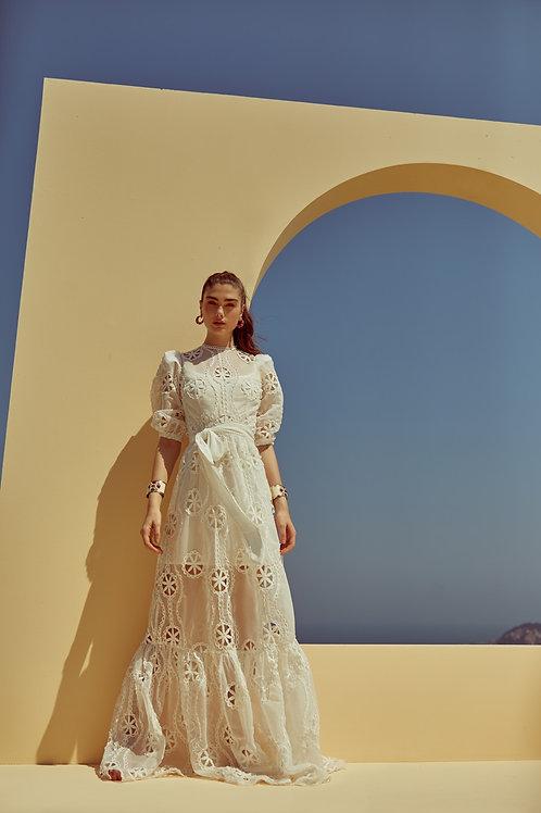 Vestido longo renda de organza bordada off white Skazi Sclub