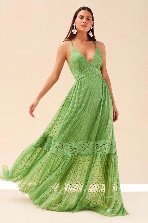 Vestido longo detalhes renda verde Skazi Sclub