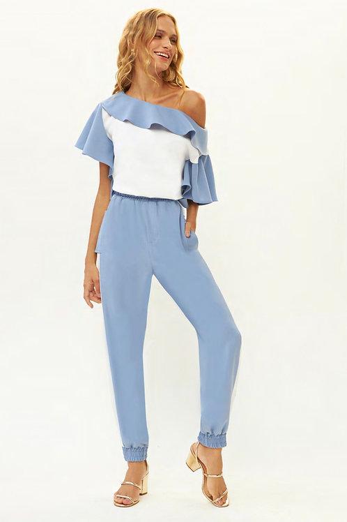 Conjunto de calça e blusa detalhe babados azul claro e off white Skazi Sclub