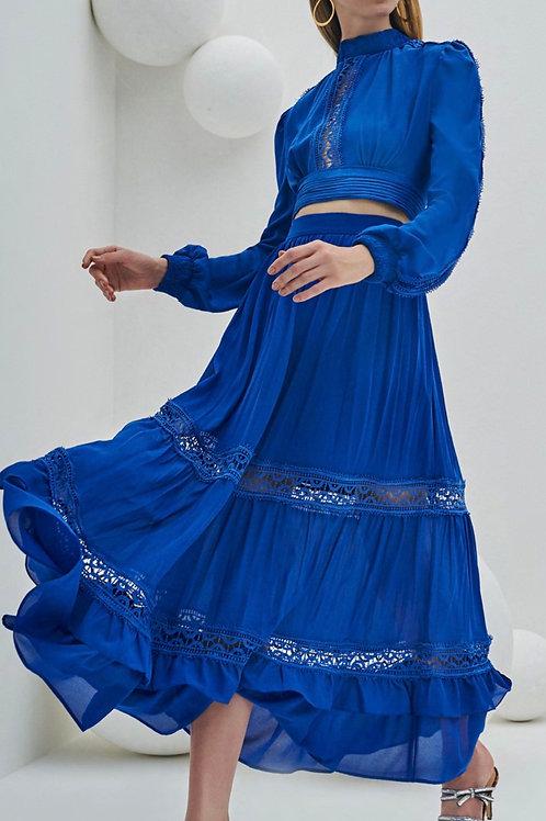 Conjunto saia e cropped chiffon entremeios renda babados azul Skazi Sclub
