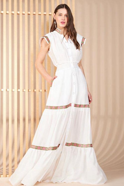 Vestido longo detalhes Skazi Sclub off white