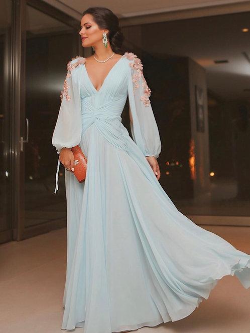 Vestido longo detalhe mangas bordadas PatBo Patricia Bonaldi