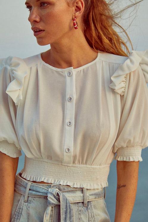 Blusa detalhe babados off white Skazi Sclub rosa