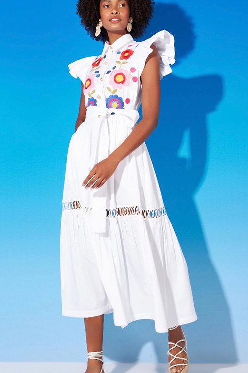 PRÉ VENDA - Vestido mídi bordado em linha off white  Skazi
