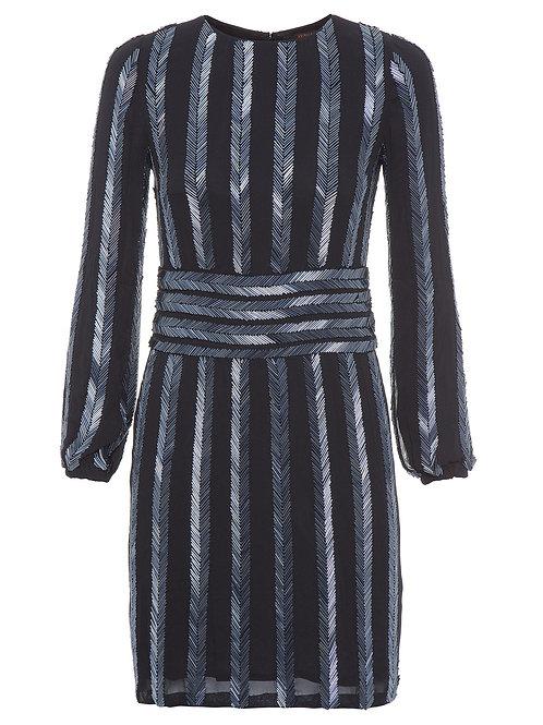 Vestido bordado manga longa Animale preto