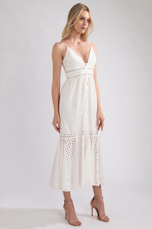 Vestido midi em lasie off white PatBo