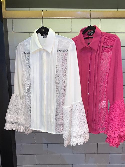 Blusa detalhe rendas rosaPatBo
