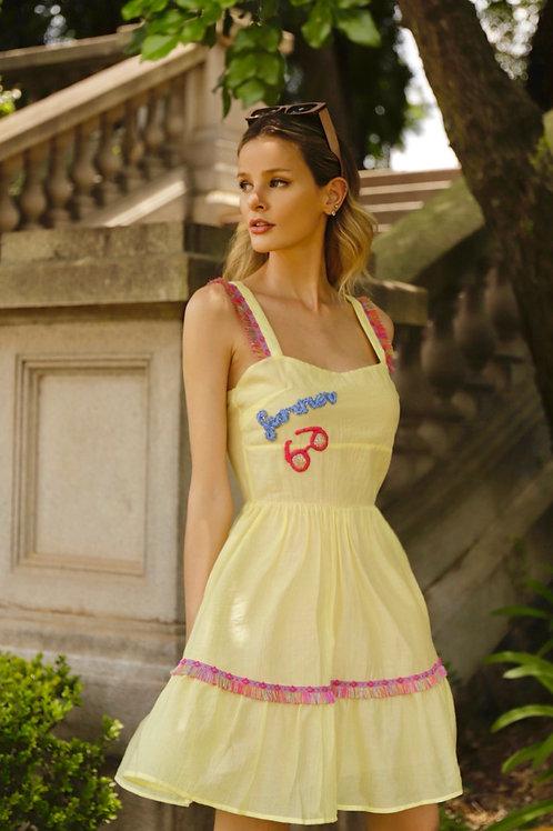 Vestido curto detalhes bordados passamanarias Manzan