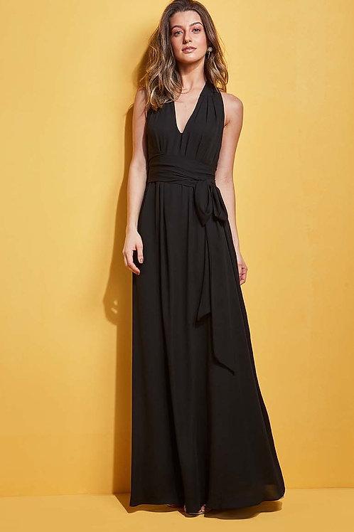 Vestido longo crepe amarração Skazi Sclub preto