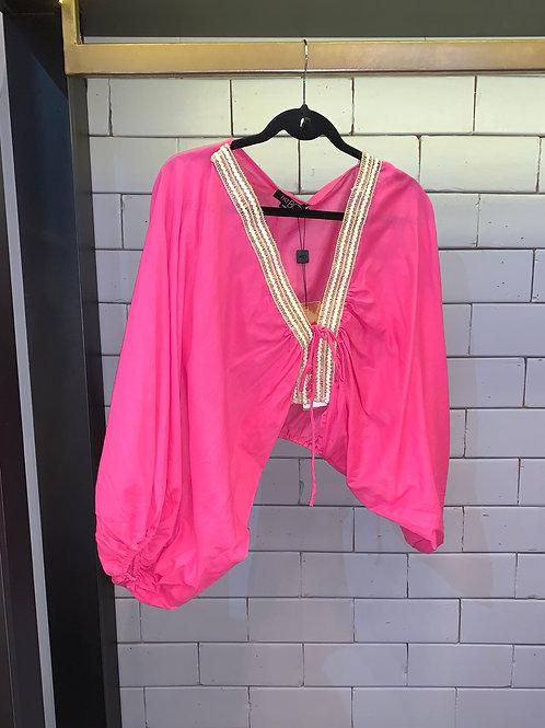 Blusa detalhe amarração manga bufante pink PatBo