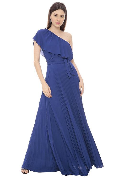 Vestido longo plissado azul Amíssima
