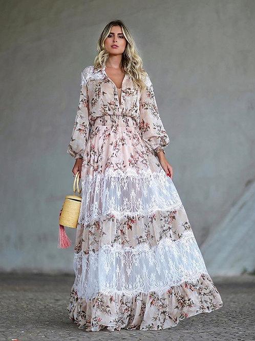 Vestido longo seda e renda - Anne Fernandes