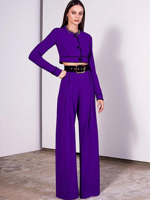 Calça pantalona violeta Skazi