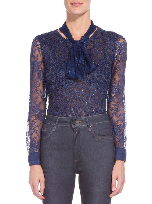 Blusa de casaquete manga de renda Floridian Carol Bassi - Azul Marinho