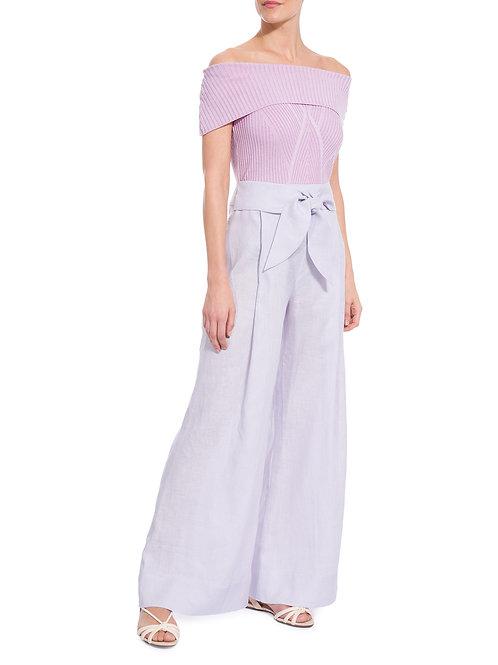 Calça pantalona em linho lavanda Animale bazar