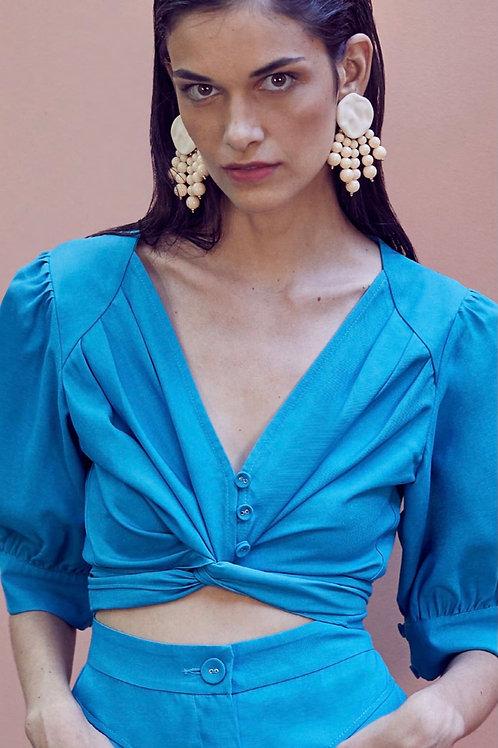 Camisa detalhe amarração azul Skazi Sclub