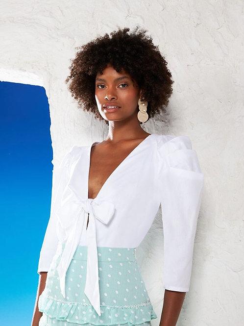Body blusa manga trabalhada off white Skazi