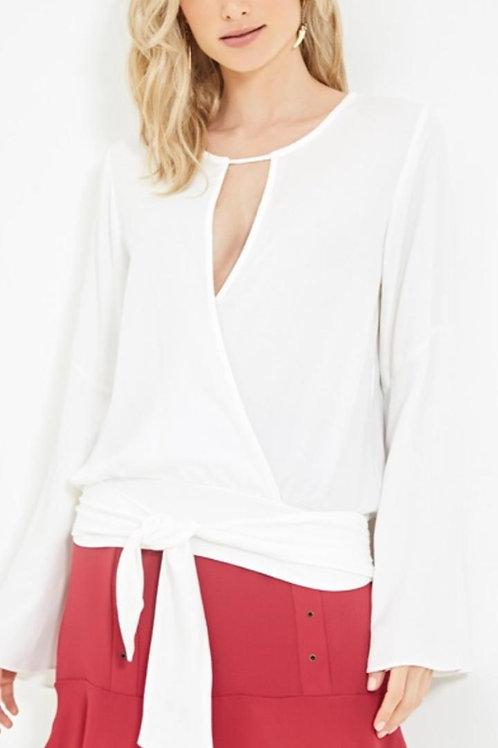 Blusa transpasse faixa Off white amarração Ateen