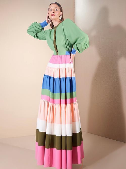 Vestido longo recortes coloridos Skazi