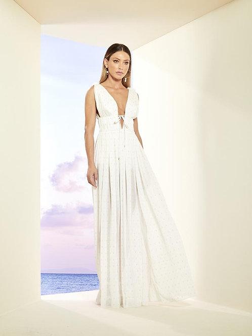Vestido longo off white detalhes bordados dourado e prata Skazi