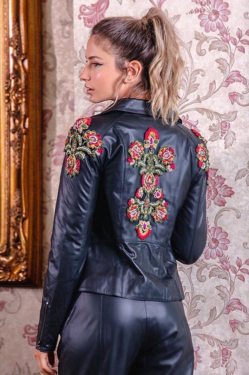 Jaqueta de couro com bordados PatBo preto