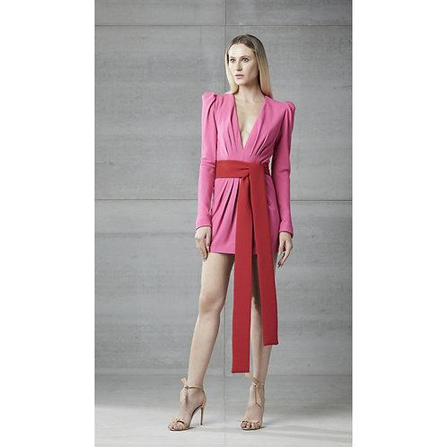 Vestido drapeado faixa rosa com vermelho Skazi