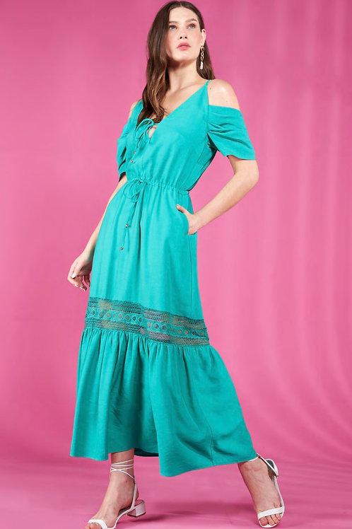 Vestido longo detalhe renda verde skazi Sclub