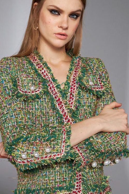 Casaqueto em tweed verde multicolor Skazi Sclub