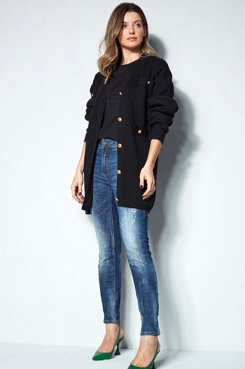 Calça jeans skinny manchas Skazi