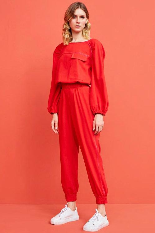 Conjunto vermelho e rosa calça jogger e blusa crepe Skazi Sclub